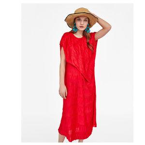 ZARA RED PLEATED CREASED DRESS  ASYMMETRIC HEM S